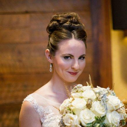 Bridal Bouquet, Wedding, Winter Wedding, Up-do, Formal Hair, Natural Makeup