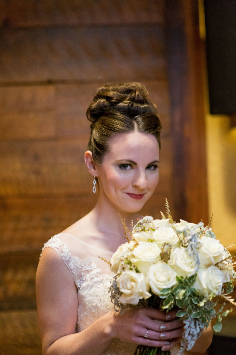Bridal Bouquet, Wedding, Winter Wedding, Up-do, Formal Hair, Natural Makeup