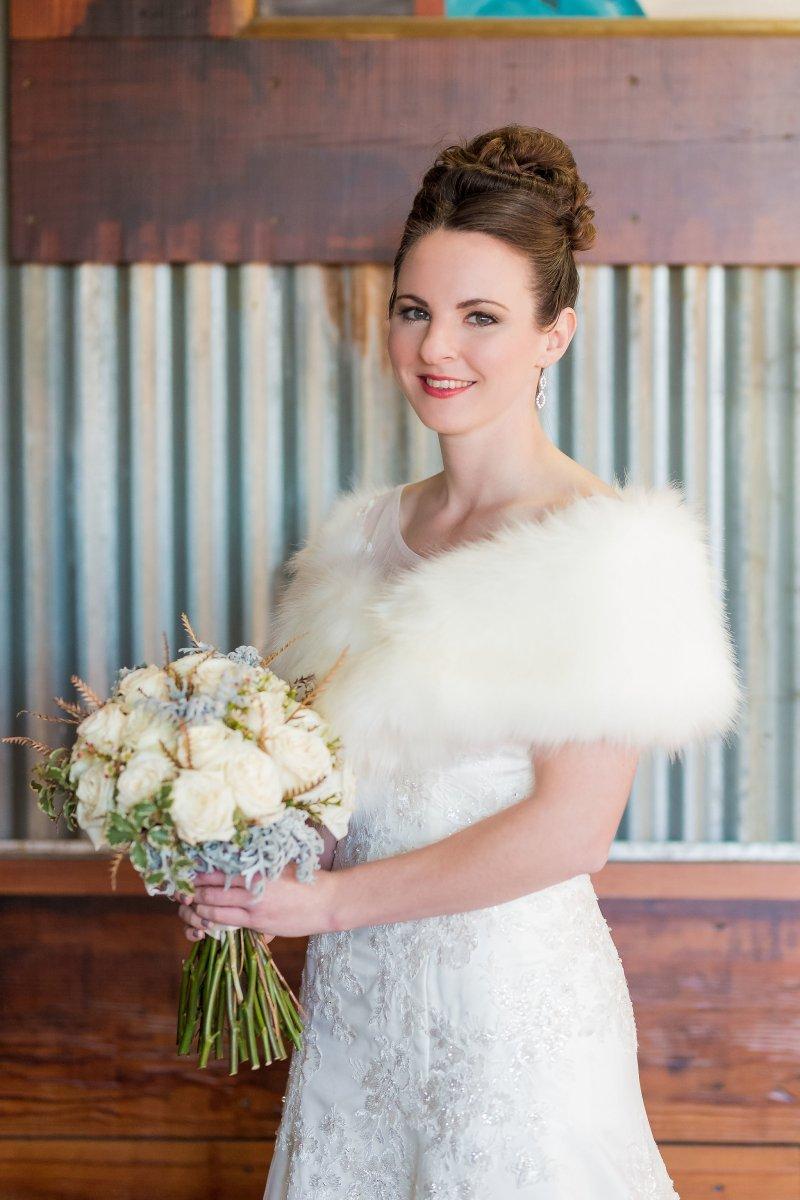 Winter Wedding, Bride, Wedding Hair and Makeup, Fur Wrap