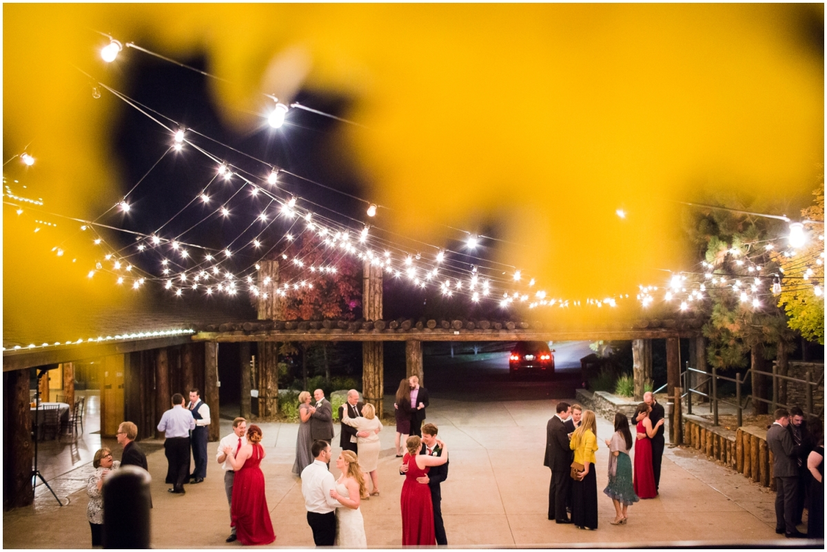 Fall Reception, Fall Wedding, Outdoor Reception, Dancing, Bistro Lights, Spruce Mountain Ranch, Larkspur Colorado