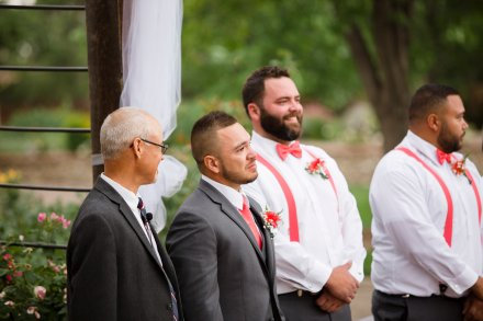 Groom, Groomsmen, Peach Wedding, Ceremony